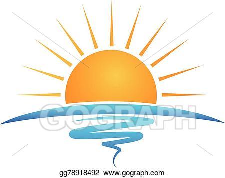 Vector art sun waves. Beach clipart symbol