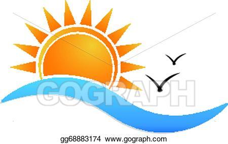 Vector stock sunset logo. Beach clipart symbol