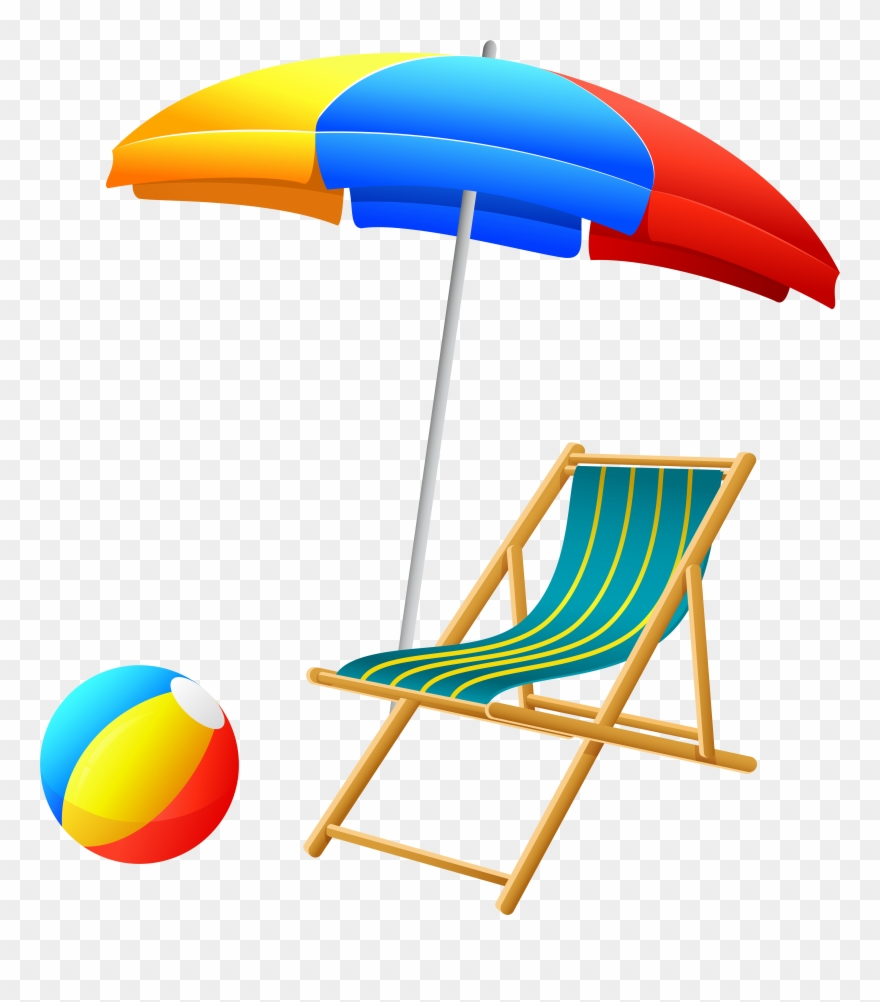Umbrella with chair and. Beach clipart transparent background