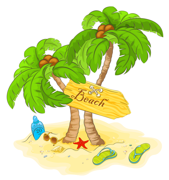 Transparent beach palm decor. Sunny clipart scenery