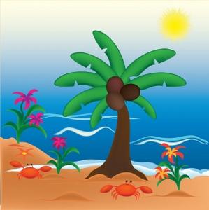 Image coconut tree crabs. Beach clipart tropical beach