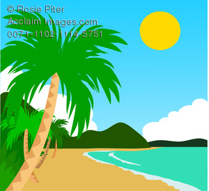 Beach clipart tropical beach. With palm trees and