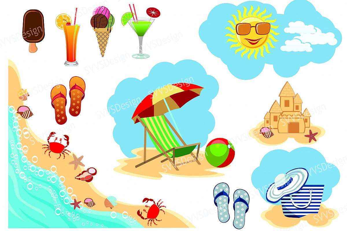 Beach vector. Clipart transparent free for