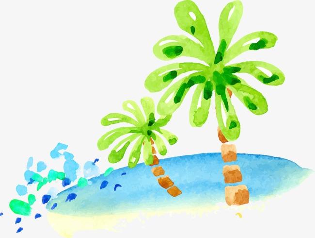 Watercolor banana tree sandy. Beach clipart vector