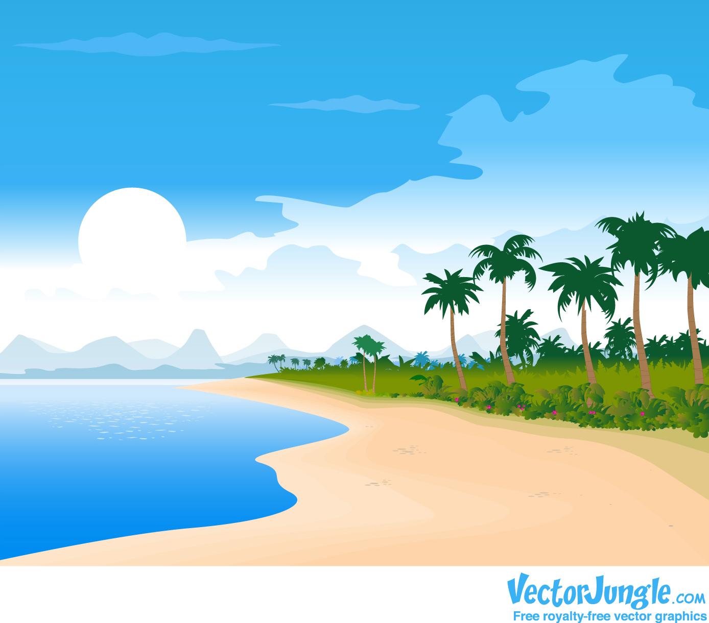 Beach clipart vector. Free cliparts download clip