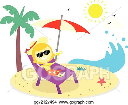 Beach clipart vector. Stock relaxing vacation on