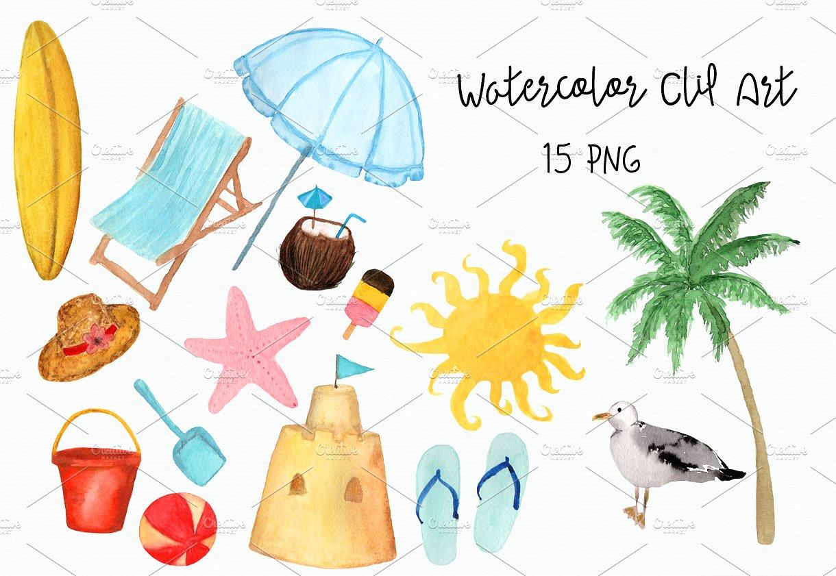Beach clipart watercolor. Clip art objects creative