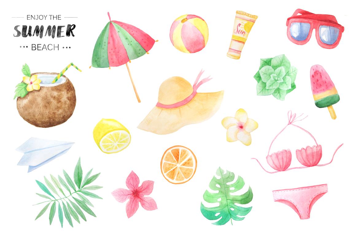 Beach clipart watercolor. Set by font bundles