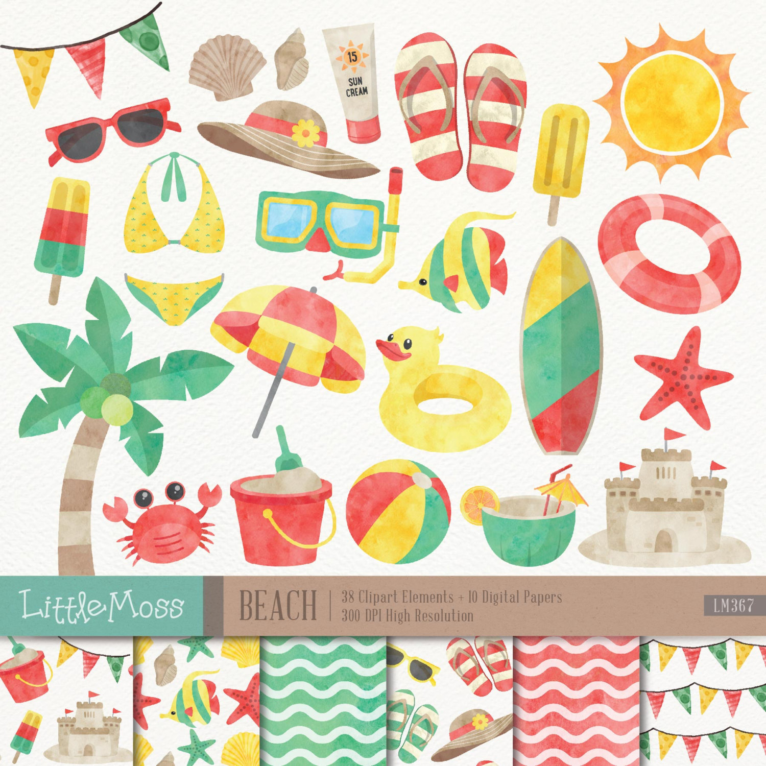 Digital and papers . Beach clipart watercolor