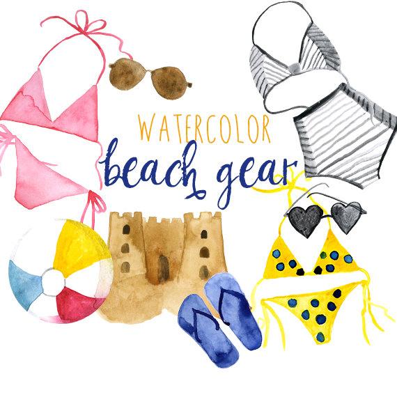 Beach clipart watercolor. Summer clip art commercial