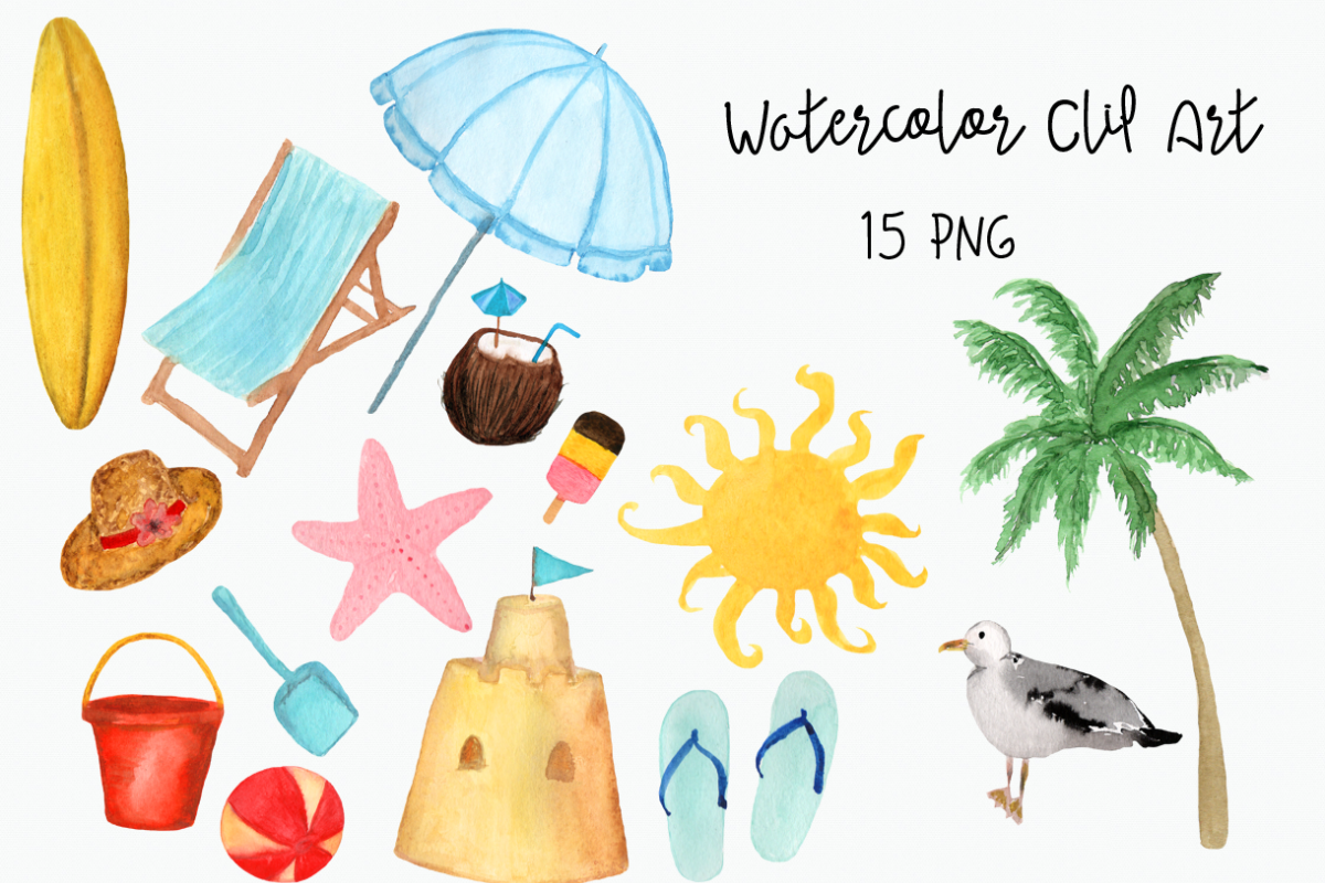 Clip art . Beach clipart watercolor