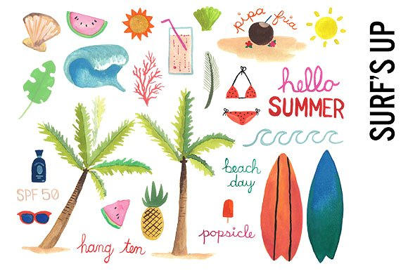 Surfing illustrations creative market. Beach clipart watercolor