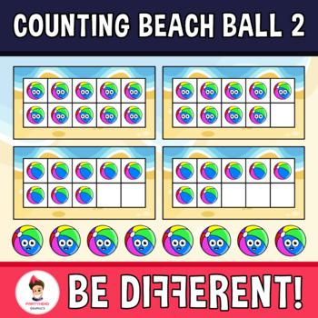 Counting beach . Beachball clipart 2 ball
