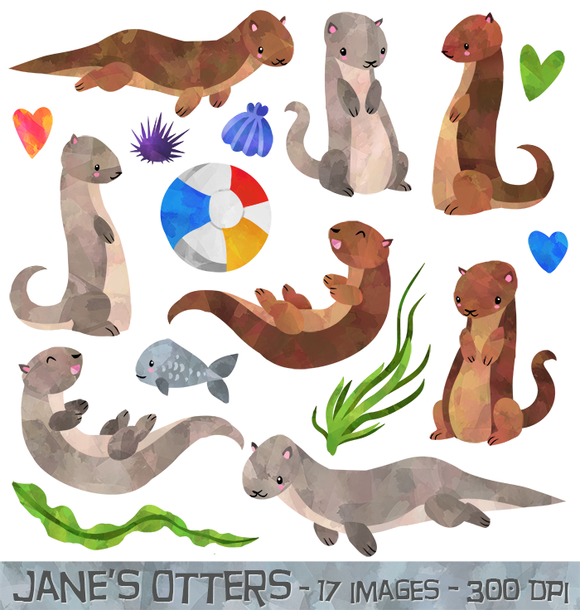 Watercolor otter otters and. Beachball clipart animal