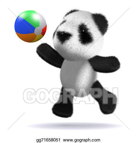 Drawing d baby panda. Beachball clipart animal