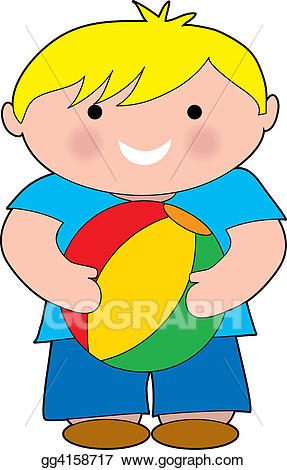 Beachball clipart bal. Stock illustration boy with