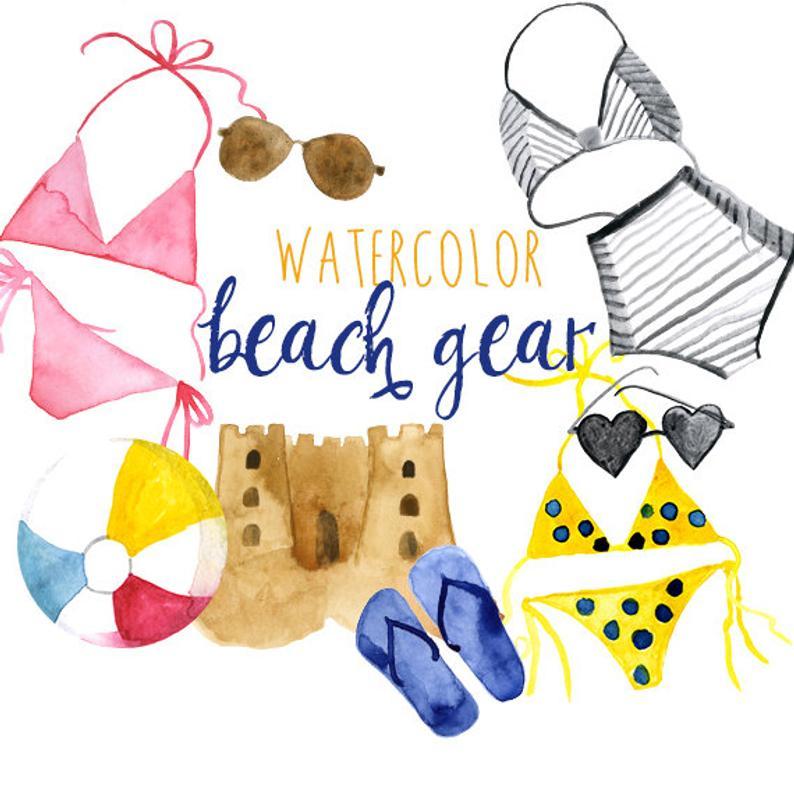 Watercolor summer clip art. Beachball clipart beach gear