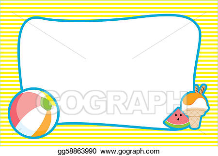 Beachball clipart border. Stock illustration illustrated summer