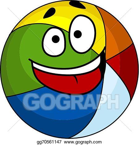 Beachball clipart cartoon. Vector art colorful laughing