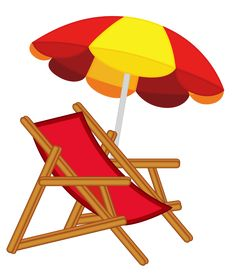 Beach umbrella with chairs. Beachball clipart chair