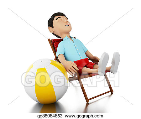Stock illustration d man. Beachball clipart chair