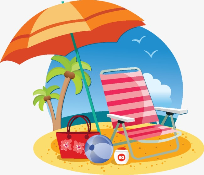 Beach chairs summer png. Beachball clipart chair