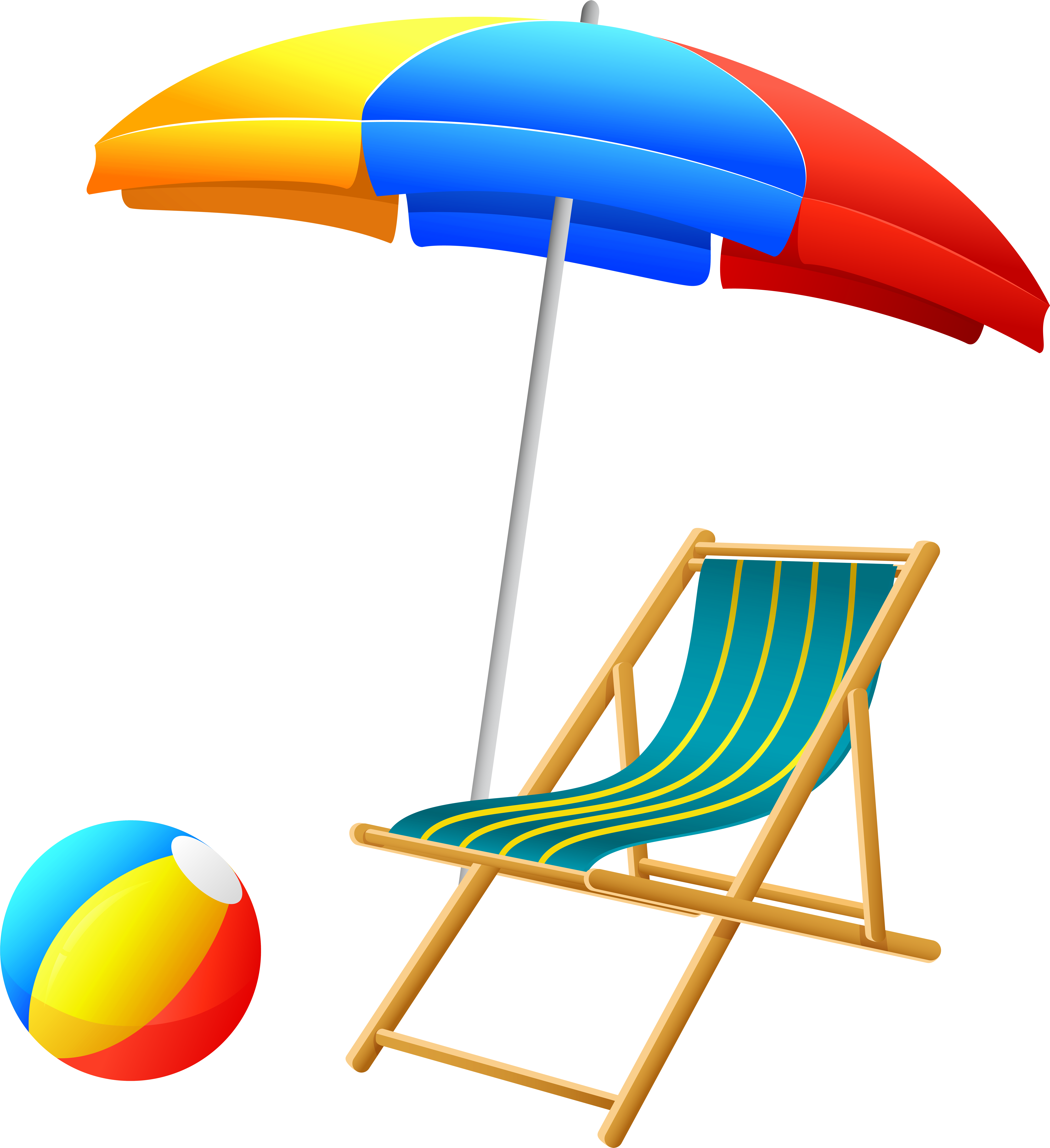 Beach umbrella with and. Beachball clipart chair