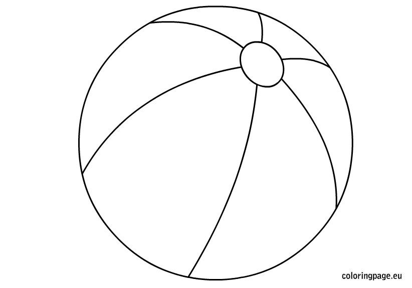 Beachball clipart color ball. Beach coloring page summer