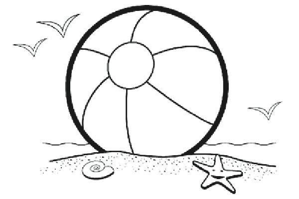 Free beach coloring pages. Beachball clipart color ball