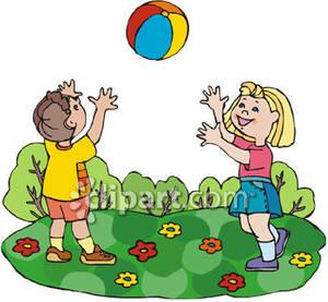 A boy and girl. Beachball clipart kid