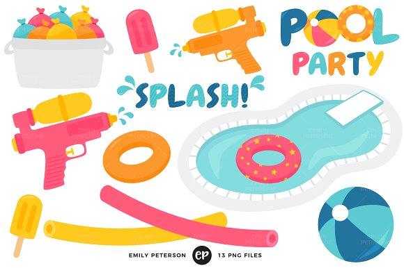 Beachball clipart pool party. Illustrations creative market