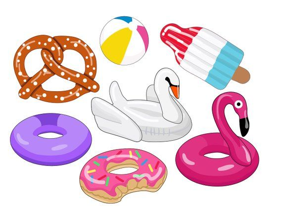 Beachball clipart pool toy. Floaties party images swan