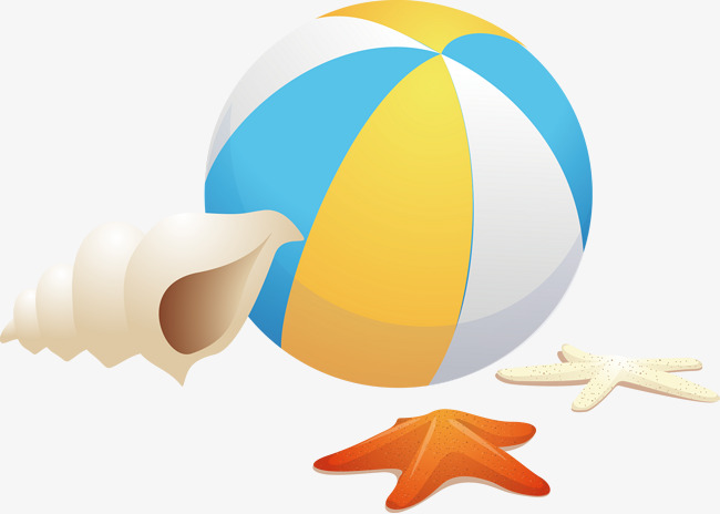 Beachball clipart rubber ball. Beach conch starfish vector