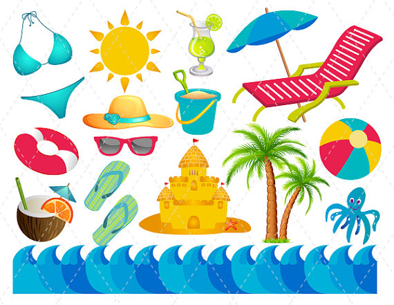 Beachball clipart summer. Digital beach vacation clip
