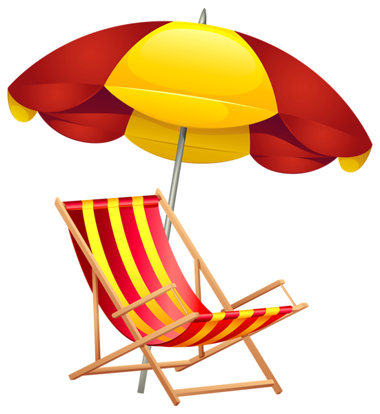Beach chair and umbrella. Sunglasses clipart tanning lotion