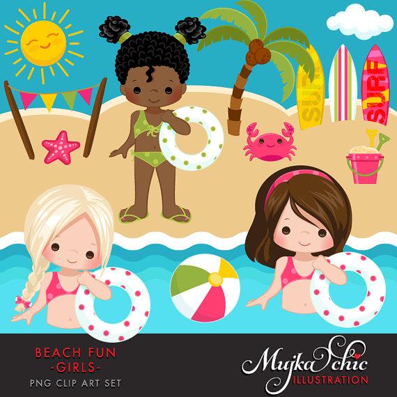 Beach fun for girls. Beachball clipart swimming
