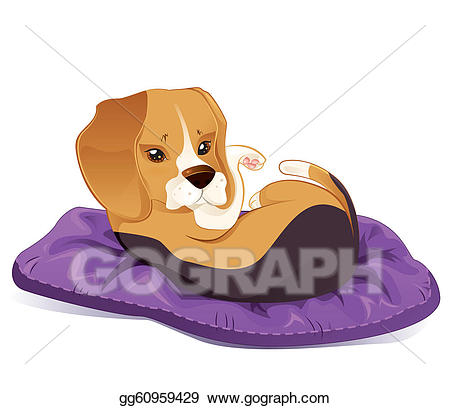 Beagle clipart adorable puppy. Vector sleepy cute illustration