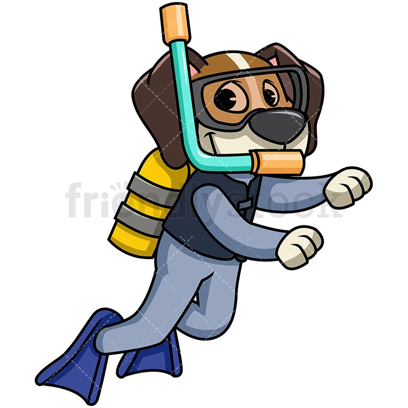 Beagle clipart animated. Dog scuba diving of