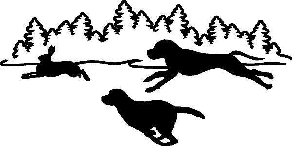Chasing rabbit decal sticker. Beagle clipart beagle hunting