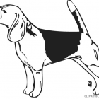 Dog jumping animal free. Beagle clipart black and white