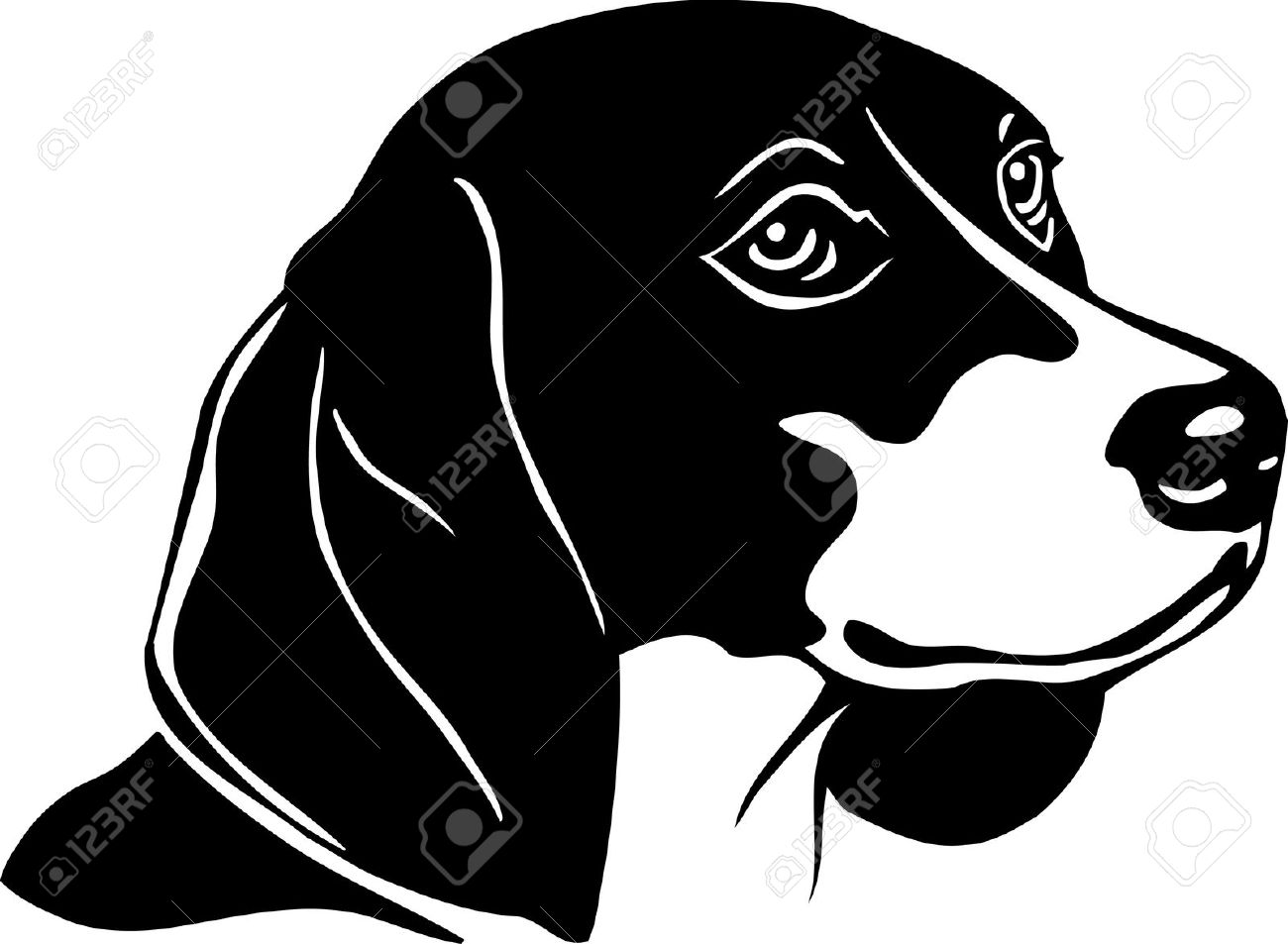 Beagle clipart black and white. Free download clip art