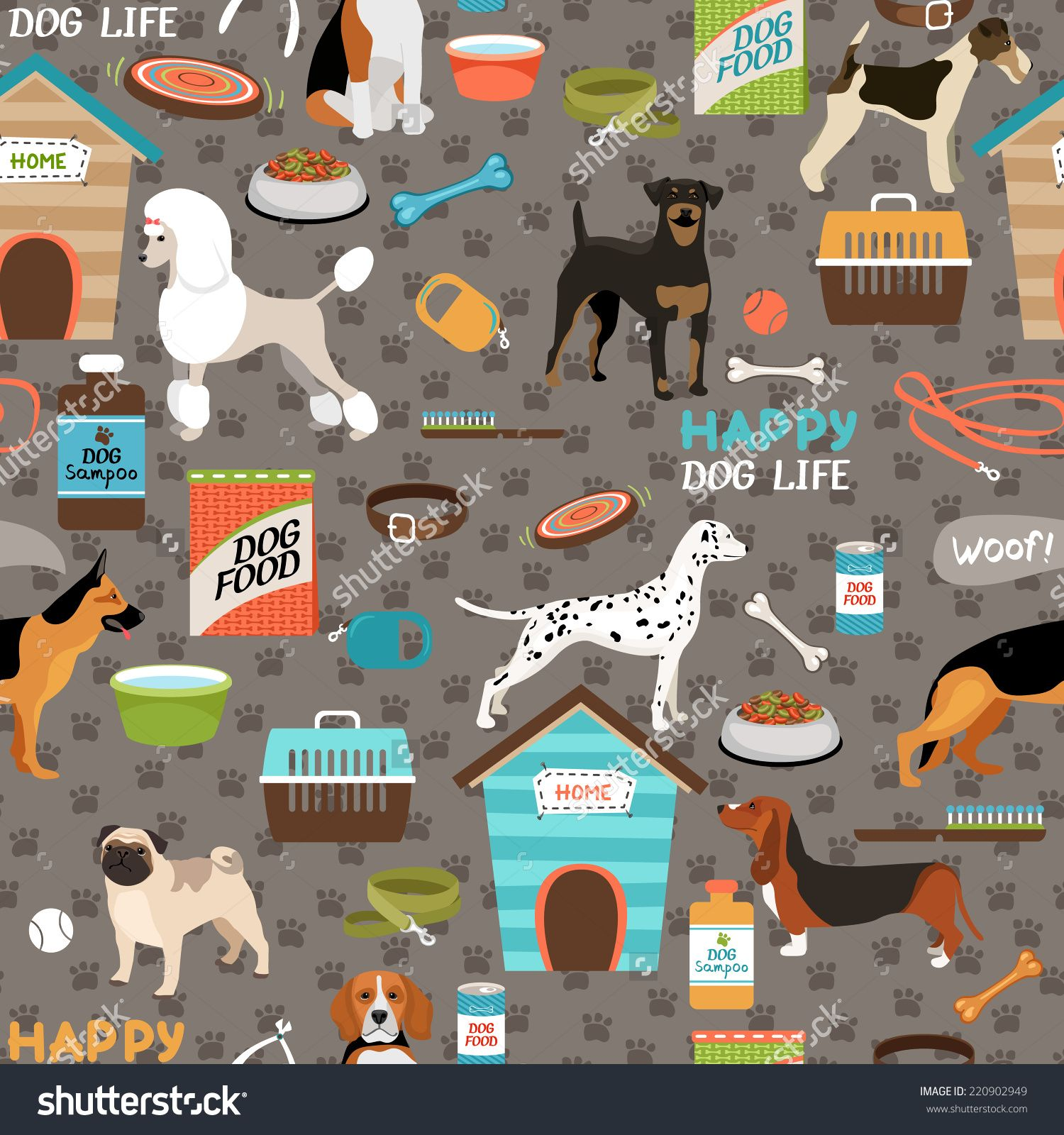 Dogs vector seamless background. Beagle clipart bloodhound