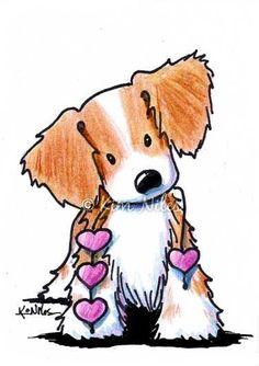 Beagle clipart brittany spaniel. Original art dog illustration