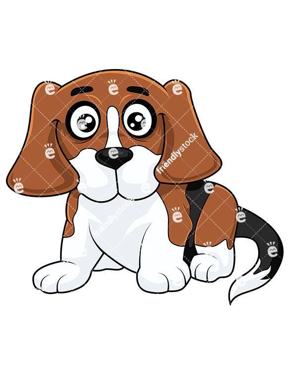 Beagle clipart cartoon. Cute puppy laying down