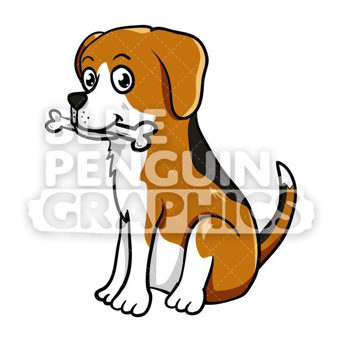 Eat a bone vector. Beagle clipart cartoon
