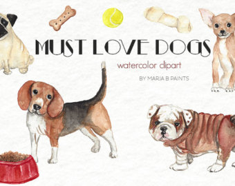 Puppy watercolor etsy dog. Beagle clipart chiweenie