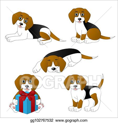 Beagle clipart cute. Vector illustration set of
