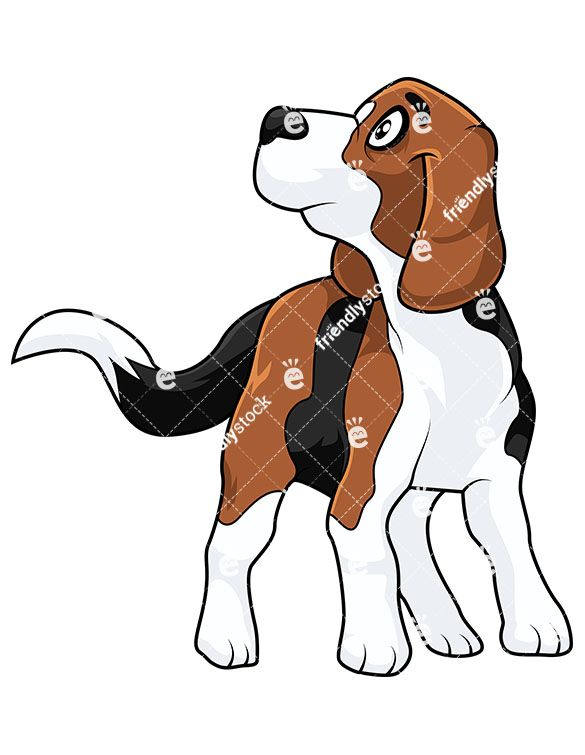 Cute looking up vector. Beagle clipart dog owner