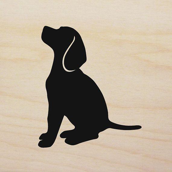 Art block version handcut. Beagle clipart dog shadow