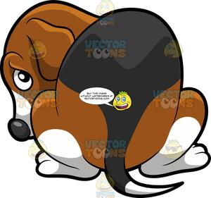 A gloomy dog . Beagle clipart dpg